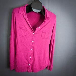 Michael Stars Shirt Top One Size Dark Pink Womens